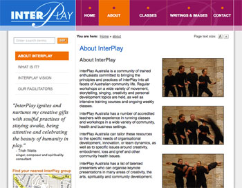 A sample of the InterPlay Australia website